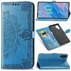 Embossing Imprint Mandala Flower Leather Wallet Case for Samsung Galaxy Note 10+ (6.75 inch) / Note10 Plus - Blue