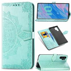 Embossing Imprint Mandala Flower Leather Wallet Case for Samsung Galaxy Note 10+ (6.75 inch) / Note10 Plus - Green