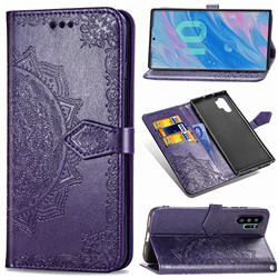 Embossing Imprint Mandala Flower Leather Wallet Case for Samsung Galaxy Note 10+ (6.75 inch) / Note10 Plus - Purple