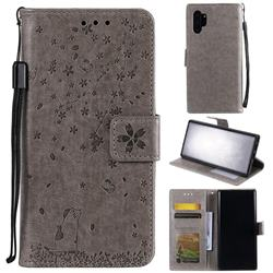 Embossing Cherry Blossom Cat Leather Wallet Case for Samsung Galaxy Note 10+ (6.75 inch) / Note10 Plus - Gray