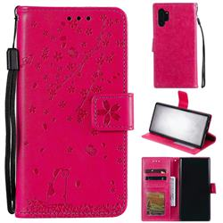 Embossing Cherry Blossom Cat Leather Wallet Case for Samsung Galaxy Note 10+ (6.75 inch) / Note10 Plus - Rose