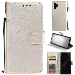 Embossing Cherry Blossom Cat Leather Wallet Case for Samsung Galaxy Note 10+ (6.75 inch) / Note10 Plus - Golden