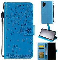 Embossing Cherry Blossom Cat Leather Wallet Case for Samsung Galaxy Note 10+ (6.75 inch) / Note10 Plus - Blue