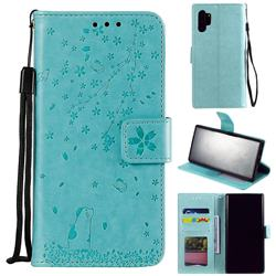 Embossing Cherry Blossom Cat Leather Wallet Case for Samsung Galaxy Note 10+ (6.75 inch) / Note10 Plus - Green