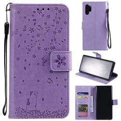 Embossing Cherry Blossom Cat Leather Wallet Case for Samsung Galaxy Note 10+ (6.75 inch) / Note10 Plus - Purple