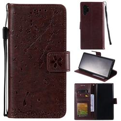 Embossing Cherry Blossom Cat Leather Wallet Case for Samsung Galaxy Note 10+ (6.75 inch) / Note10 Plus - Brown