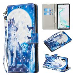 Ice Wolf 3D Painted Leather Wallet Phone Case for Samsung Galaxy Note 10 Pro (6.75 inch) / Note 10+