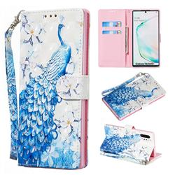 Blue Peacock 3D Painted Leather Wallet Phone Case for Samsung Galaxy Note 10 Pro (6.75 inch) / Note 10+