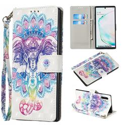 Colorful Elephant 3D Painted Leather Wallet Phone Case for Samsung Galaxy Note 10 Pro (6.75 inch) / Note 10+