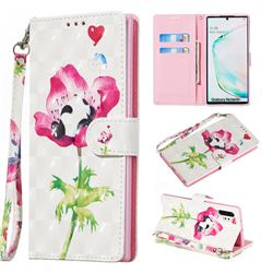 Flower Panda 3D Painted Leather Wallet Phone Case for Samsung Galaxy Note 10 Pro (6.75 inch) / Note 10+