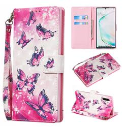Pink Butterfly 3D Painted Leather Wallet Phone Case for Samsung Galaxy Note 10 Pro (6.75 inch) / Note 10+