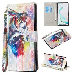 Watercolor Owl 3D Painted Leather Wallet Phone Case for Samsung Galaxy Note 10 Pro (6.75 inch) / Note 10+