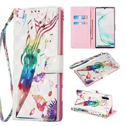 Music Pen 3D Painted Leather Wallet Phone Case for Samsung Galaxy Note 10 Pro (6.75 inch) / Note 10+