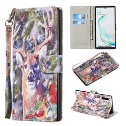 Elk Deer 3D Painted Leather Wallet Phone Case for Samsung Galaxy Note 10 Pro (6.75 inch) / Note 10+
