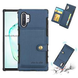 Brush Multi-function Leather Phone Case for Samsung Galaxy Note 10 Plus (6.75 inch) / Note 10+ - Blue