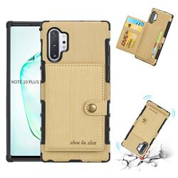 Brush Multi-function Leather Phone Case for Samsung Galaxy Note 10 Plus (6.75 inch) / Note 10+ - Golden