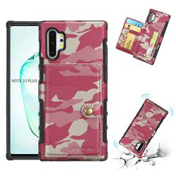 Camouflage Multi-function Leather Phone Case for Samsung Galaxy Note 10 Plus (6.75 inch) / Note 10+ - Rose