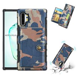 Camouflage Multi-function Leather Phone Case for Samsung Galaxy Note 10 Plus (6.75 inch) / Note 10+ - Blue