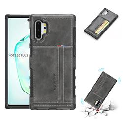 Luxury Shatter-resistant Leather Coated Card Phone Case for Samsung Galaxy Note 10 Pro (6.75 inch) / Note 10+ - Gray