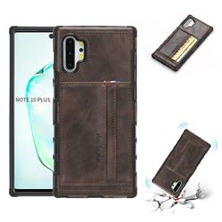 Luxury Shatter-resistant Leather Coated Card Phone Case for Samsung Galaxy Note 10 Pro (6.75 inch) / Note 10+ - Coffee