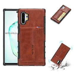 Luxury Shatter-resistant Leather Coated Card Phone Case for Samsung Galaxy Note 10 Plus (6.75 inch) / Note 10+ - Brown