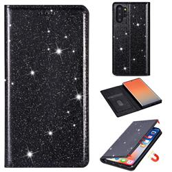Ultra Slim Glitter Powder Magnetic Automatic Suction Leather Wallet Case for Samsung Galaxy Note 10 Plus (6.75 inch) / Note 10+ - Black