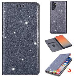 Ultra Slim Glitter Powder Magnetic Automatic Suction Leather Wallet Case for Samsung Galaxy Note 10 Pro (6.75 inch) / Note 10+ - Gray