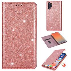 Ultra Slim Glitter Powder Magnetic Automatic Suction Leather Wallet Case for Samsung Galaxy Note 10 Pro (6.75 inch) / Note 10+ - Rose Gold