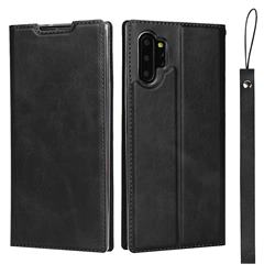 Calf Pattern Magnetic Automatic Suction Leather Wallet Case for Samsung Galaxy Note 10 Pro (6.75 inch) / Note 10+ - Black