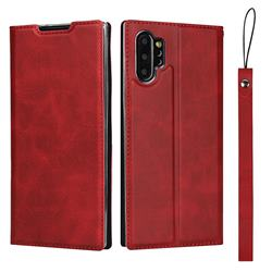 Calf Pattern Magnetic Automatic Suction Leather Wallet Case for Samsung Galaxy Note 10 Pro (6.75 inch) / Note 10+ - Red