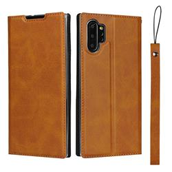 Calf Pattern Magnetic Automatic Suction Leather Wallet Case for Samsung Galaxy Note 10 Pro (6.75 inch) / Note 10+ - Brown