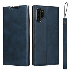 Calf Pattern Magnetic Automatic Suction Leather Wallet Case for Samsung Galaxy Note 10 Pro (6.75 inch) / Note 10+ - Blue