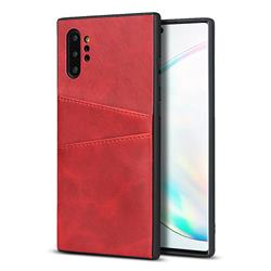 Simple Calf Card Slots Mobile Phone Back Cover for Samsung Galaxy Note 10 Pro (6.75 inch) / Note 10+ - Red