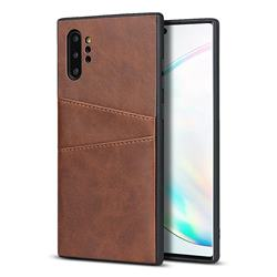 Simple Calf Card Slots Mobile Phone Back Cover for Samsung Galaxy Note 10 Pro (6.75 inch) / Note 10+ - Coffee