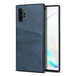Simple Calf Card Slots Mobile Phone Back Cover for Samsung Galaxy Note 10 Pro (6.75 inch) / Note 10+ - Blue