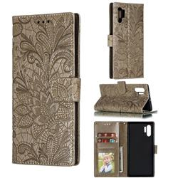Intricate Embossing Lace Jasmine Flower Leather Wallet Case for Samsung Galaxy Note 10 Plus (6.75 inch) / Note 10+ - Gray