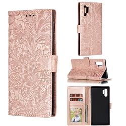 Intricate Embossing Lace Jasmine Flower Leather Wallet Case for Samsung Galaxy Note 10 Plus (6.75 inch) / Note 10+ - Rose Gold