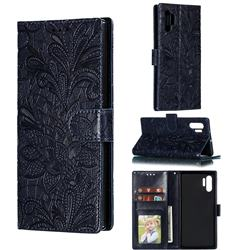 Intricate Embossing Lace Jasmine Flower Leather Wallet Case for Samsung Galaxy Note 10 Plus (6.75 inch) / Note 10+ - Dark Blue