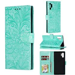 Intricate Embossing Lace Jasmine Flower Leather Wallet Case for Samsung Galaxy Note 10 Plus (6.75 inch) / Note 10+ - Green