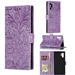 Intricate Embossing Lace Jasmine Flower Leather Wallet Case for Samsung Galaxy Note 10 Plus (6.75 inch) / Note 10+ - Purple