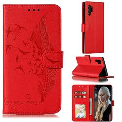Intricate Embossing Lychee Feather Bird Leather Wallet Case for Samsung Galaxy Note 10 Pro (6.75 inch) / Note 10+ - Red