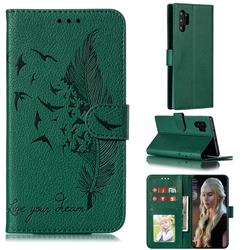 Intricate Embossing Lychee Feather Bird Leather Wallet Case for Samsung Galaxy Note 10 Pro (6.75 inch) / Note 10+ - Green