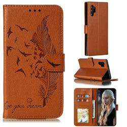 Intricate Embossing Lychee Feather Bird Leather Wallet Case for Samsung Galaxy Note 10 Pro (6.75 inch) / Note 10+ - Brown