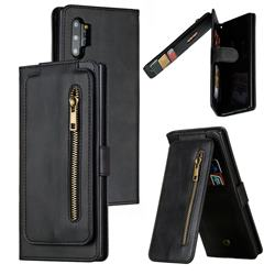 Multifunction 9 Cards Leather Zipper Wallet Phone Case for Samsung Galaxy Note 10 Plus (6.75 inch) / Note 10+ - Black