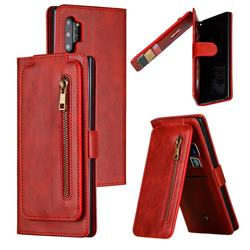 Multifunction 9 Cards Leather Zipper Wallet Phone Case for Samsung Galaxy Note 10 Plus (6.75 inch) / Note 10+ - Red