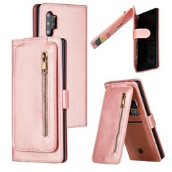 Multifunction 9 Cards Leather Zipper Wallet Phone Case for Samsung Galaxy Note 10 Plus (6.75 inch) / Note 10+ - Rose Gold