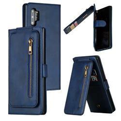 Multifunction 9 Cards Leather Zipper Wallet Phone Case for Samsung Galaxy Note 10 Pro (6.75 inch) / Note 10+ - Blue