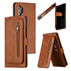 Multifunction 9 Cards Leather Zipper Wallet Phone Case for Samsung Galaxy Note 10 Plus (6.75 inch) / Note 10+ - Brown