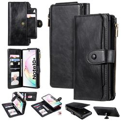 Retro Multifunction Zipper Magnetic Separable Leather Phone Case Cover for Samsung Galaxy Note 10 Plus (6.75 inch) / Note 10+ - Black