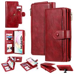 Retro Multifunction Zipper Magnetic Separable Leather Phone Case Cover for Samsung Galaxy Note 10 Plus (6.75 inch) / Note 10+ - Red